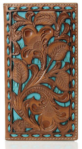 Nocona Mens Floral Embossed Turquoise Underlay Leather Rodeo Wallet (Tan)