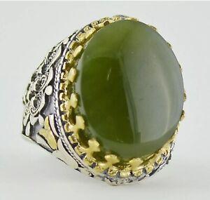 Natural Genuine Yemeni Jade Men Ring 925 Sterling Silver Fashion Elegant