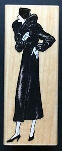 Opera Coat Winter Fur Tall Woman Fashionista Supermodel Posing Wood Rubber Stamp
