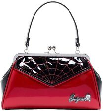 SOURPUSS PURSE RED GLITTER SPIDERWEB ROCKABILLY BACKSEAT TATTOO RETRO PINUP GOTH