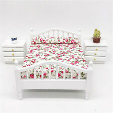 Dollhouse Miniature Bedroom Furniture Wooden Floral Double Bed 1:12 Scale Model