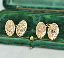 Antique 1909 9ct gold Cufflinks Victorian Ivy Art Deco Peaky Blinder 2.59g #R450