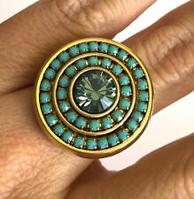 Designer Round Yellow Gold Plated 24k Ring w Turquoise Swarovski Crystals Sz 8