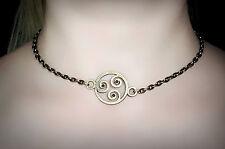 BDSM symbol triskele day collar metal necklace submissive dominant slave emblem