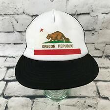 Oregon Republic Beaver Mens OFSA Snapback Trucker Hat Black Adjustable Ball Cap
