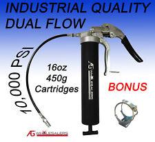 GREASE GUN MANUAL PISTOL GRIP DUAL FLOW / PRESSURE 10,000 PSI INDUSTRIAL QUALITY