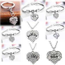 Clear Rhinestone Mom Sister Pendant Women Necklace Charm Bracelet Jewelry Gifts