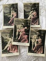Lot 5 Vtg French France Postcard RPPC Couple Set Series Romance Love Adore 015