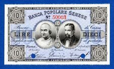 Italy 10 Lire Specimen Banca Popolare Senese Bradbury Wilkinson 1873 Fds / Unc