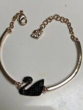 Swarovski Crystal Classic Black Swan Rose Gold Bangle Bracelet -