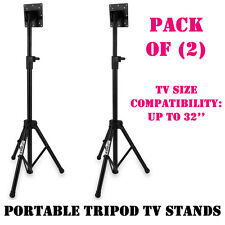 Pack of (2) Pyle Portable Tripod TV Stand, LCD Flat Panel Monitor Mount