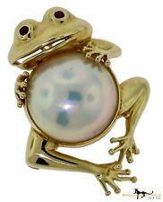 Gorgeous Mabé Pearl & Ruby Frog Pin, Brooch, and Pendant