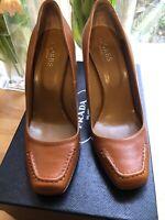 Hobbs Tan Leathet Heels Shoes Size 39 Uk6 NEW