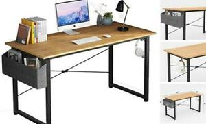"""Home Office Computer Desk with Storage Bag and Iron Hook Study 47"""" Natural"""
