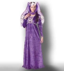 Renaissance Queen Costume 2 Pc Purple Velour Dress & Headpiece Plus Size