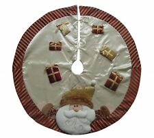 "Luxury Gold & Cream Christmas Tree Skirt  - Apron Santa 35"" 90cm Decoration Mat"