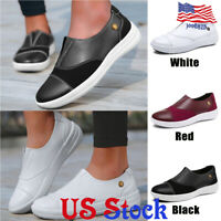 Women Slip on Boat Shoes Casual Flat Leather Loafers Low Top Comfort Sneakers
