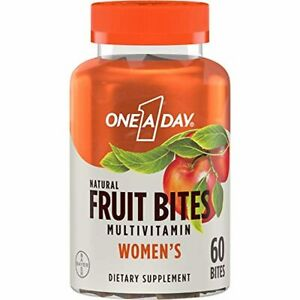 One A Day Women's Natural Fruit Bites multivitamin, Apple, 60 Count