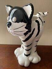"Cat Black & White Ceramic Figurine / Vase Whimsical Cheshire Cat Face 10"" Tall"