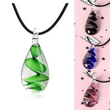 Murano Inspired Cute Mini Clear Quartz Glass Waterdrop Pendant Necklace Jewelry