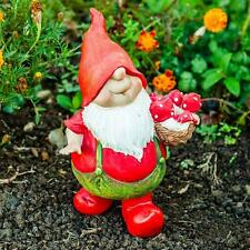 Max the Traditional Red Mushroom Collecting Garden Gnome Figurine Ornament