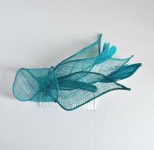 Sinamay & feather fascinator hair comb. Wedding/races. Can be customised. UK