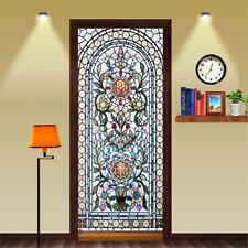 3D Stained Glass Waterproof Door Sticker Bedroom Wallpaper Decals Murals Decor