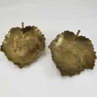 Vintage Solid Brass Leaf Tray Trinket Dish Ashtray Candle Holder Nice Patina