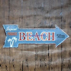 Metal Tin Sign BEACH signal Bar Pub Vintage Retro Poster Cafe ART