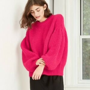 A New Day Hot Pink Bubble Puff Sleeve Pullover Chunky Fuzzy Sweater NWT XS S M