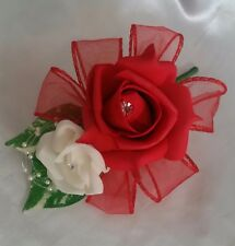 Red Ivory Wedding Buttonhole Corsage Pin On Pearls Ribbon Loops Organza