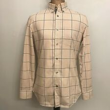 Banana Republic Brown Plaid Non Iron Slim Fit Dress Shirt Size 14 - 14.5 Small