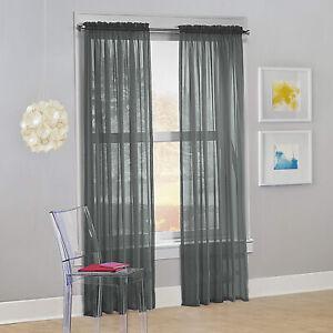 Decotex Set of 2 Sheer Voile Transparent Window Treatment Curtain Panel Drapes