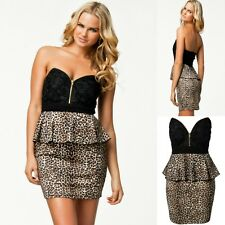 Sz 8 10 Black Leopard Lace Strapless Cocktail Party Wear Club Formal Dress