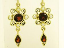 E123 Genuine 9ct Yellow Gold Victorian insp Natural Garnet & Pearl Drop Earrings