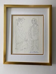 PABLO PICASSO +1955 SIGNED SUPERB PRINT MATTED 11 X 14 + LIST