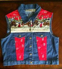 NEW Ryhthm Blue jean denim western VEST Womens Medium Rodeo Horses Red Bandana