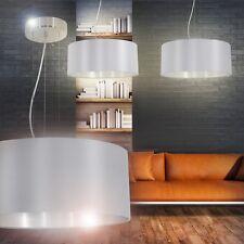 Pendelleuchte Design Esszimmer Leuchten Wohn Zimmer Hängelampe Stoff silber-grau