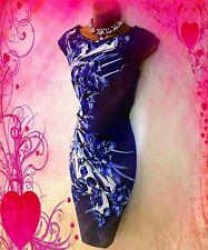 KAREN MILLEN**STUNNING BLUE  FLORAL PRINT  STRETCH  WIGGLE  DRESS SIZE 12 VGC
