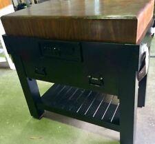 "IHR Aust Quality black BUTCHERS BLOCK Island bench Trolley 6""thick ON MASTERCHEF"