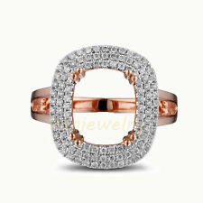 10x8mm Cushion Cut  Solid 14K Rose Gold Natural Diamond Semi Mount Ring Setting