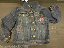 NWT Baby Gap Girls Embroidered Jean Jacket size 4 guitar peace LOVE NEW