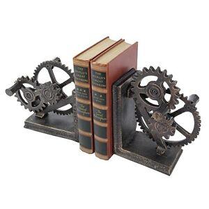 QH9631 -  Industrial Gear Sculptural Iron Bookends - New!