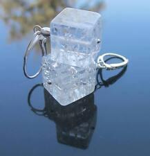 Piedras Preciosas De Montaña De Cristal Cubos 12mm cuentas 925sterling pendientes Plata Criolla