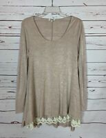 Umgee Boutique Women's S Small Tan Beige Ivory Lace Cute Fall Tunic Top Shirt