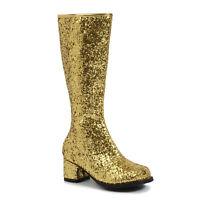 Ellie 175-DORA-G Gold Glitter Cheer Dance Pageant Children Costume Gogo Boot