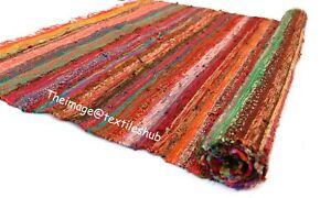 Indian Handmade Chindi Rug Floor Hand-Woven Yoga Mat Area Rugs Mat Carpet 3x5 Ft