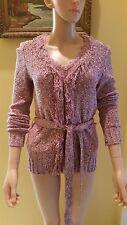 ST. JOHN SPORT BYMARIE GRAY TEXTURED Wool Blend  Knit Twinset Sweater Size P