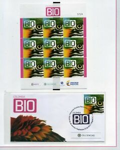 BIRDS OF COLOMBIA  ''carpeta'''9 STAMPS>>'SHEET-COVER F.D.C.
