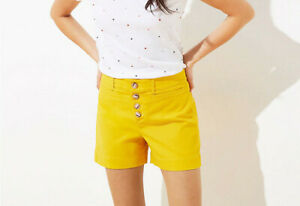 NEW Loft Size 12 Yellow Button Front Shorts